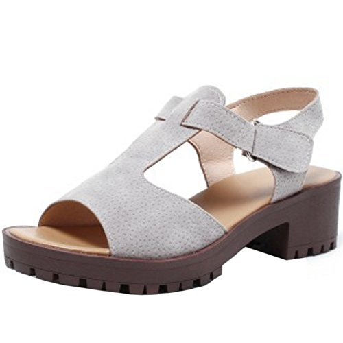 TAOFFEN Femmes Classique Bloc Sandales Talons Moyen T-strap Peep Toe Chaussures De Boucle Gris