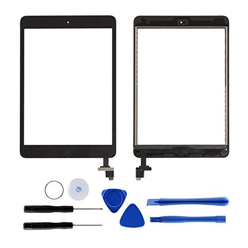 Dazone für iPad Mini 1 2 Touchscreen Digitizer Ersatz Glas Display Bildschirm mit IC Chip Home Button und Werkzeug (Schwarz) (Ipad 1 Digitizer)