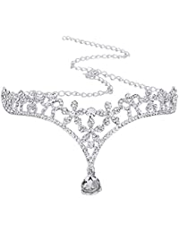 Aofocy Corona Tiara Boda Novia Dama de honor Cristal Flor Rhinestone/Frontlet