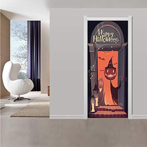 qazwsx Halloween Kürbis Dekorationen 3D DIY Tür Aufkleber Home Decor Remodeling Holztür Vinyl Aufkleber Autotür Kunst Wandaufkleber 77X200 cm