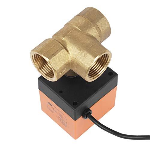 Miafamily Elektrisches Ventil Absperr Umschalt Kugelventil Messing Absperrhahn 3 Wege,DN25 G1 Zoll, AC 230V, für Flusssteuerung Zonenventil Kugelventil