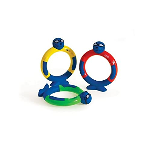 Zoggs Kids Dive Rings Water Confidence Toy - Blue/Yellow/Red/Green, 3+ Years