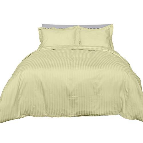 Homescapes 3-teiliges Bettwäsche-Set, Bettbezug 200 x 200 cm mit 2 Kissenbezügen 48 x 74 cm, 100% ägyptische Baumwolle mit Satin-Streifen, Fadendichte 330, Lindgrün/hellgrün - 100% Ägyptische Baumwolle Streifen
