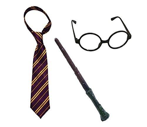 Clafund mago scuola ragazzo costume cravatta+occhiali+bacchetta magica mago vestito book week