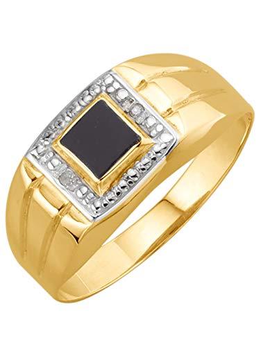 KLiNGEL Herrenring mit Onyx und Diamanten