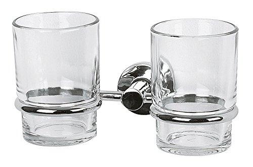 Spirella Zahnputzbecher Doppelhalter Atlantic aus Glas Zum Kleben Oder Bohren - Glas-zahnputzbecher