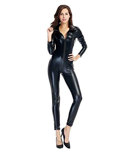 m Catsuit Umlegekragen Overall Wetlook Ganzanzug mit Reißverschluss Dessous Clubwear Halloween Kostüme (Schwarz , M) (Hollween Kostüme)
