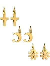 67f712c2a959 Aroncent Pendientes Hueso Oído de Acero Quirúrgico Inoxidable Aretes con  Colgante de Cruz Estrella Luna Flores…