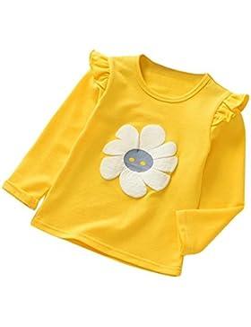 Logobeing Niñas Bebé Ropa de Manga Larga Flor de Impresión Tops Camiseta Blusas (Amarillo, 110)
