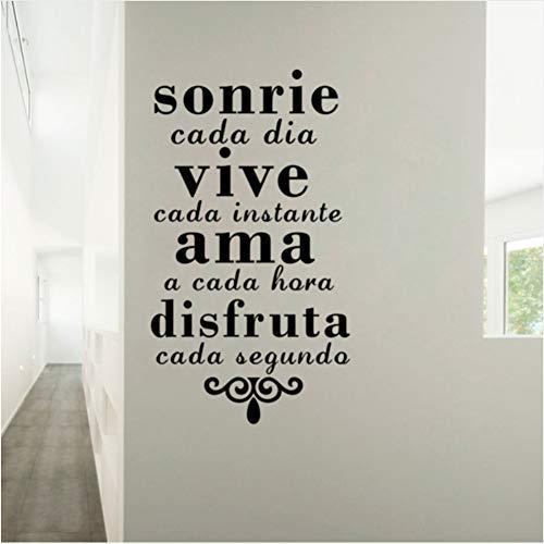 Qbbes 43 * 7Icm Inspirierend Spanisches Lächeln Jeden Tag Leben Jeden Moment Vinyl Art Wall Stickers Home Destination