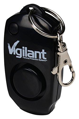 Vigilant PPS-23BLK 130db electrónico violación Ataque Alarma Personal con silbato de copia de seguridad Plus llavero y bolso Clip (negro)
