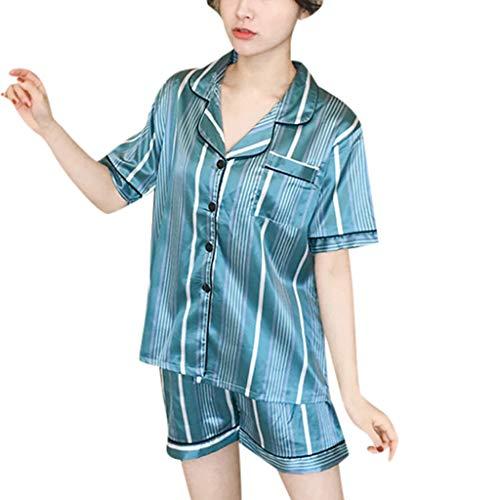 en Frauen 2 Stücke Sommer Pyjamas Kurzarm Shorts Pyjamas Lose Nachtwäsche Homewear Damen Hauspyjama Zweiteilig R-2 (Grün,XL) ()