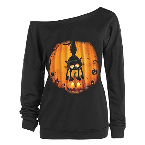 (VEMOW Herbst Winter Damen Plus Size Langarm Halloween Pullover Verärgerter Kürbis Skew Neck Lässige Party Cosplay Tees Bluse Tops(Schwarz 7, EU-44/CN-L))