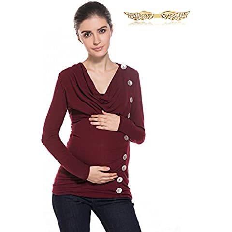 BYD Ropa Premamá Blusas con Botones Prendas de punto V-escote Collar del Montón Camisetas Mujer Mama Manga Larga T shirt Túnica Camisas Tops de