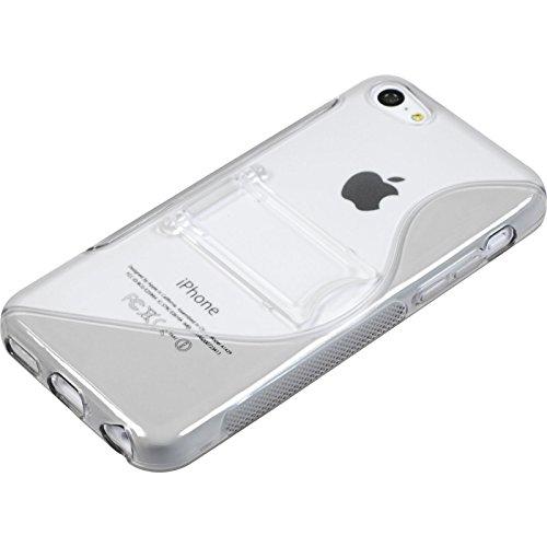 PhoneNatic Case für Apple iPhone 5c Hülle Silikon weiß Aufstellbar Cover iPhone 5c Tasche + 2 Schutzfolien Grau