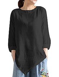 VJGOAL otoño Casual de Las Mujeres de la Vendimia de la Vendimia de algodón literario Camisa de Manga Larga Casual Blusa Suelta tee Top
