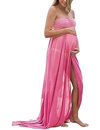KOJOOIN Damen Elagant Umstandskleid Off Schulter Chiffon Schwanger Fotografie Rock, Festlich Lange Schwangerschafts Kleider