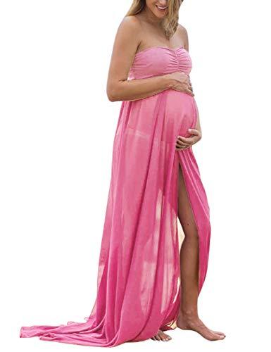 KOJOOIN Damen Elagant Umstandskleid Off Schulter Chiffon Schwanger Fotografie Rock, Festlich Lange Schwangerschafts ()