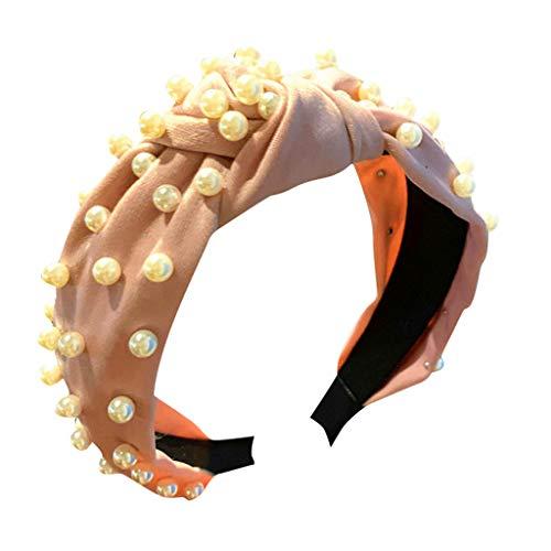 Honestyi Frauen Kristall Stirnband Stoff Haarband Kopf Wickeln Zubehör breitkrempige Nägel, Perlen Haarband, Stirnband, geknotet, Haare waschen, süßes Haar, Tiara, weiblich, geknotet rosa