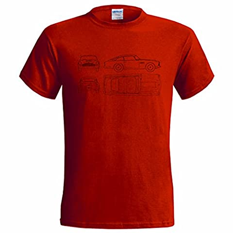 ASTON MARTIN DB4 1961 BLUEPRINT MENS T SHIRT CLASSIC CAR (LARGE(42-44), RED)