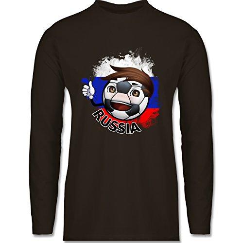 EM 2016 - Frankreich - Fußballjunge Russland - Longsleeve / langärmeliges T-Shirt für Herren Braun