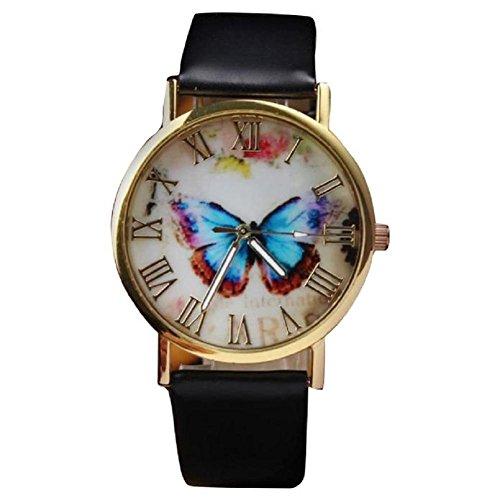 donne orologio da polso, orologio analogico al quarzo cinturino in pelle farfalla (Nero)
