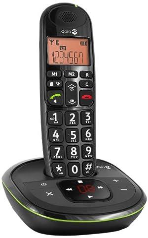 Doro PhoneEasy 105wr Schnurloses DECT-Telefon mit Anrufbeantworter schwarz