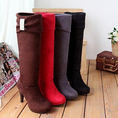 Stivali da donna Autunno Inverno Inverno Cuoio in vestito Cono Tacco Fibbia Rosso Marrone Grigio Nero Camminare Ruby