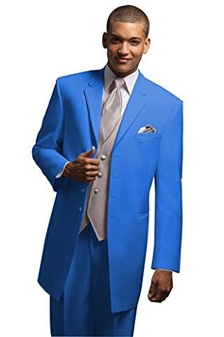 MYS Men's Custom Made Bridegroom Long Wedding Tuxedo Suit Pants Vest Tie Set Blue Tailored