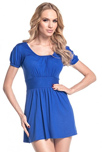 Glamour Empire. Donna. Top maglia estivo in jersey con pieghe manica corta. 408 Blu Royal