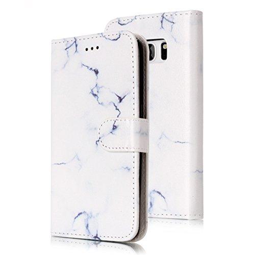 Samsung Galaxy S7 Edge Custoida in Pelle Portafoglio,Samsung Galaxy S7 Edge Cover Pu Wallet,KunyFond Lusso Moda Marmo Dipinto Leather Flip Protective Cover con Bella Modello Cover Custodia per Samsung Marmo bianco
