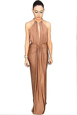 COSIVIA Femme Robes Robe de soirée Longue bustier Robe Sans manches Robe Maxi Sexy Elégant Confiants (Camel)