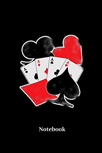 Notebook: Liniertes Notizbuch für Kartenspiel, Spielkarten, Glücksspiel, Poker und Bridge Fans - Notizheft Klatte für Männer, Frauen und Kinder