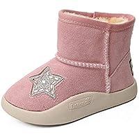zj Botas de Nieve para Niños, Otoño E Invierno, Cuero, Más Terciopelo, Zapatos Casuales para Mantener Calientes a Los Niños Y Niñas Zapatos de Algodón, Zapatos Ligeros,Rosado,34