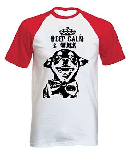 Teesquare1st Men's CHIHUAHUA KEEP CALM & WALK PB 13 Red Short Sleeved T-Shirt Size Medium
