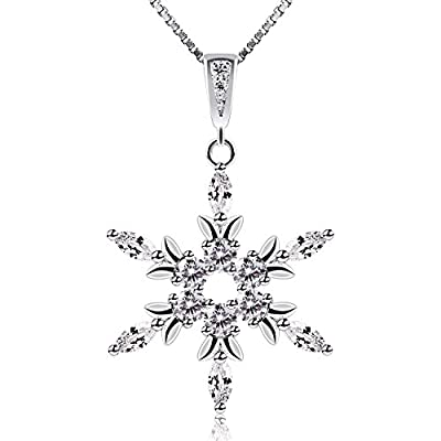 B.Catcher Sterling Silver Snowflake Necklace Crystal Cubic Zirconia Charm