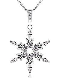 B.Catcher Damen Kette Anhänger Halskette Schneeflocken Necklace ,,Die Eiskönigin'' 925 Sterling Silber 45cm Kettenlänge Weihnachten Geschenk