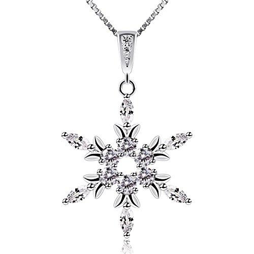B.Catcher Collar de plata de Ley con diamante Para mujer,Con una Caja(45cm de longitud)