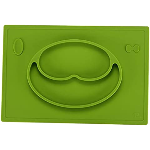 icekon Una pieza de la placa de silicona para el niño del bebé de comidas y Mantel Tazón( Verde)