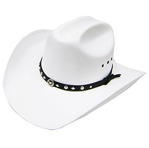 Modestone Unisex Traditional Straw Chapeaux Cowboy White