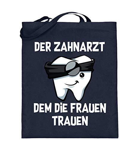 Kleidungskulisse Der Zahnarzt Dem Die Frauen Trauen Ideales Geschenk für Zahnärzte Zahnarzthelfer/in Lustig - Jutebeutel (mit langen Henkeln) -38cm-42cm-Deep Blue