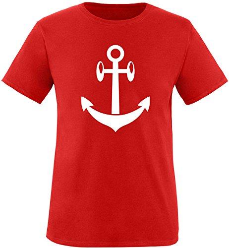 EZYshirt® Anker Maritim Herren Rundhals T-Shirt Rot/Weiß