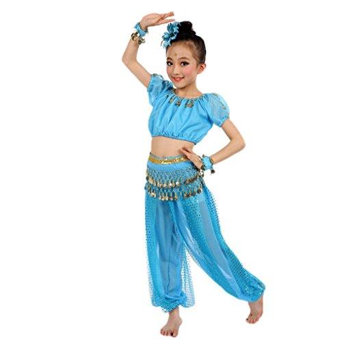 (❥Elecenty Mädchens Kleid Bauchtanz Chiffon Pailletten Halloween Karneval Kostüme Komplet Ägypten Tanz Tuch Chiffon Tops +Hosen Tanzkleidung für Kinder (M, Hellblau))