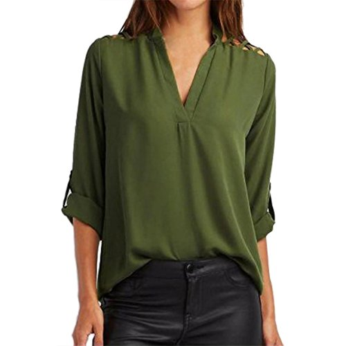 CYBERRY.M Chemise Femme Fille Manches Longues Casual Col V T-shirt Vert