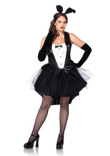 Leg Avenue 83951X - Frack Bunny Kostüm Set, Übergröße 44, schwarz/weiß