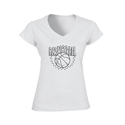 Basketball Ball Logo Icon Black White Damen V-Neck T-Shirt Weiß