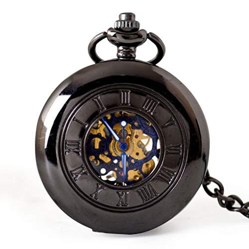 GaLon Quarz-Taschenuhr, mechanische Retro-Taschenuhr ausgehöhlt mechanische Taschenuhr Männer Casual mechanische Quarzuhr mit Geschenkbox (Color : Black) (Sanitäter Krankenschwester Kostüm)