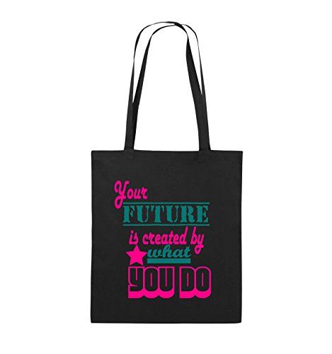 Comedy Bags - Your future is created by what you do - Jutebeutel - lange Henkel - 38x42cm - Farbe: Schwarz / Weiss-Neongrün Schwarz / Pink-Türkis