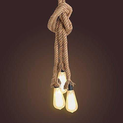 Tomshine Vintage Hanfseillampe Hängelampe Pendelleuchte Seilleuchte 1m mit 3 E27 Lampenfassungen für Küche, Bar, Fundament, Lager, Bauernhof (Ohne Birne)