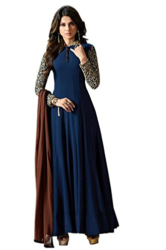 Ethnic Empire Women Georgette Anarkali Semi-Stitched Salwar Suit (Ethnic_FlexER11035_Blue_Free Size)